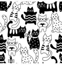 Cartoon seamless bicolor cats vector