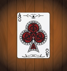 Ace of clubs poker card varnished wood background vector