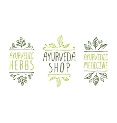 Ayurveda product labels vector