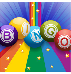Bingo balls on rainbow over blue background vector image