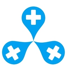 Hospital map markers icon vector