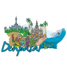 denpasar doodles vector image