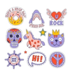 Skull doughnut cat and others bright childish vector