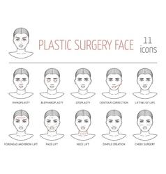 Set of line plastic surgery face icons flat vector