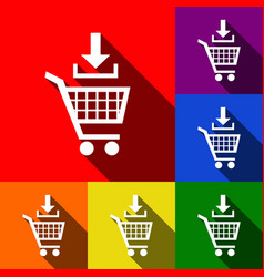 Add to shopping cart sign set of icons vector