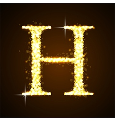 Alphabets h of gold glittering stars vector