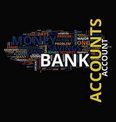 Arrays of bank accounts text background word vector