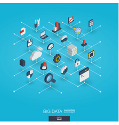 Big data integrated 3d web icons digital network vector