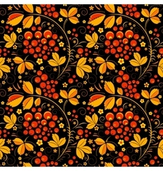 Black seamless pattern in floral folk tradition vector