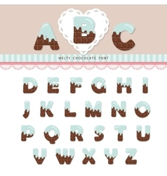 Blue cream melted on chocolate alphabet vector image vector image