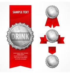 Bottle caps red ribbon on vector
