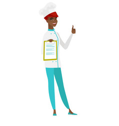 Chef cook with clipboard giving thumb up vector