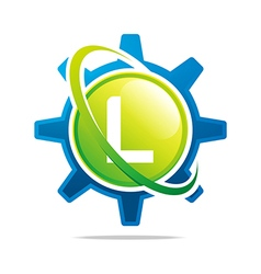 circle globe gear letter l green abstract vector image
