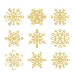 Collection of gold snowflakes icons vector