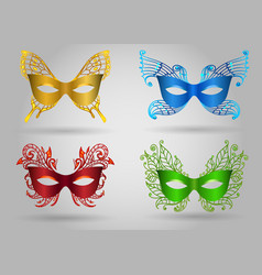 Colorful carnival mask set vector