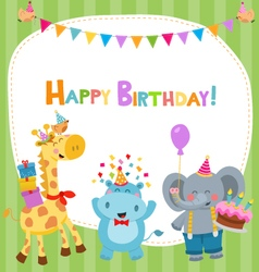 Cute Birthday Card With Animals vector image vector image