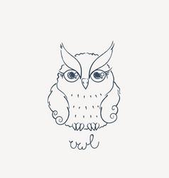 Cute cartoon owl lovely owlet in doodle style vector