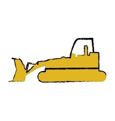 Drawing bulldozer truck construction sign vector