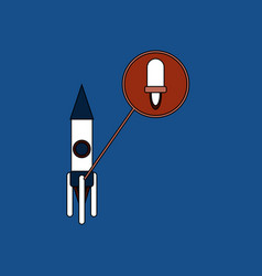 Flat icon design collection rocket and engine vector