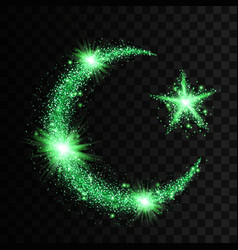Green particles wave in form of crescent and star vector