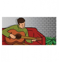 guitar guy vector image vector image