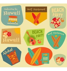 Hawaii Surf Stickers vector image vector image