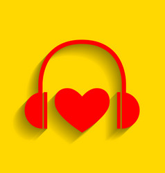 Headphones with heart red icon with soft vector
