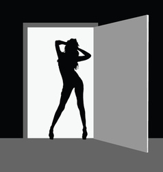 Hot girl fron the door vector