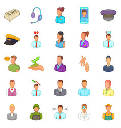 Human resource icons set cartoon style vector