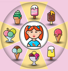 Infographic set of ice cream icons and woman vector