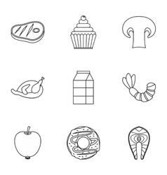 Morning breakfast icons set outline style vector