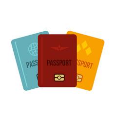 Passports icon flat style vector
