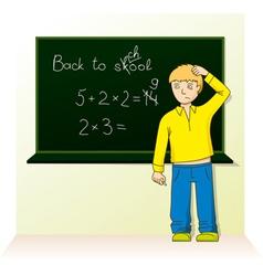 schoolboy near the board vector image vector image