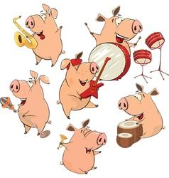 Set of cheerful pigs cartoon vector