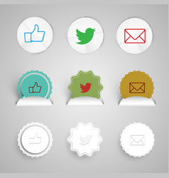 Share buttons made of paper vector