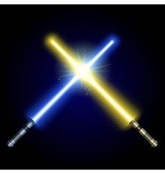 Two crossed light swords fight vector