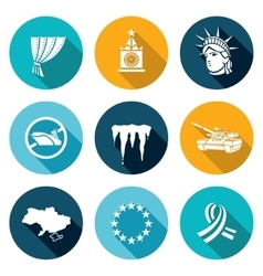 Usa russia conflict icons set vector