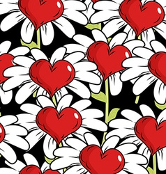 Flower of love seamless pattern Red heart with vector image