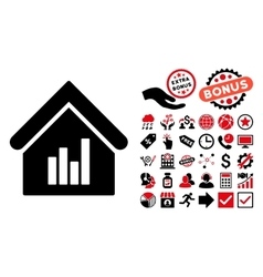 Realty bar chart flat icon with bonus vector