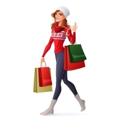 Woman in christmas outfit with shopping vector