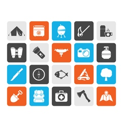 Silhouette camping travel and tourism icons vector