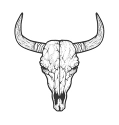 Bull skull native americans tribal style tattoo vector