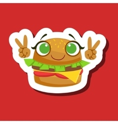 Burger sandwich smiling showing peace gesture vector