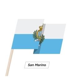 San marino ribbon waving flag isolated on white vector