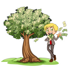 Rich man with money on tree vector
