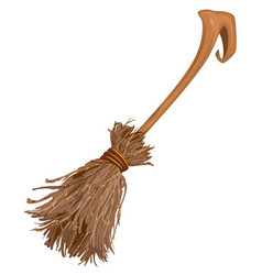 Old broom witchs with long handle accessory for vector