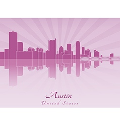 Austin skyline in purple radiant orchid vector image