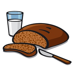 Milk and bread vector