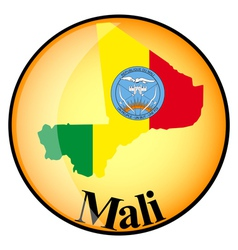 Orange button with the image maps of mali vector