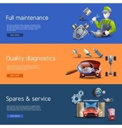 Car repair cartoon banners set vector